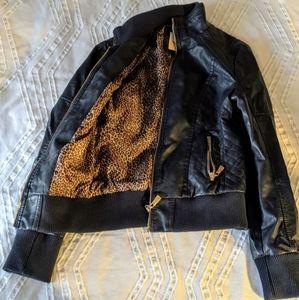 Jackets & Blazers - Blue Artificial Leather Jacket Leopard Print Liner